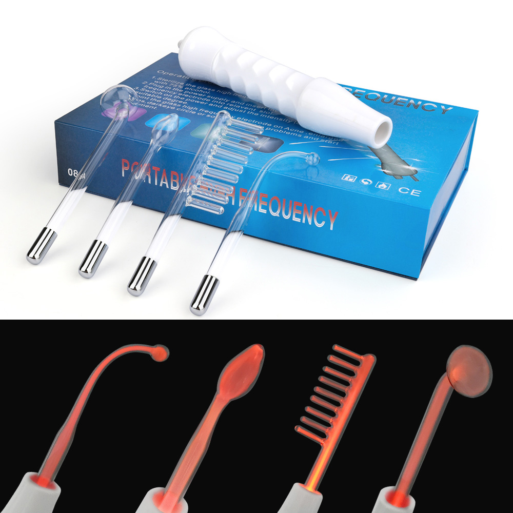 4 In 1 High Frequency Electrode Wand Electrotherapy Glass Tube Beauty Device Acne Spot Remover Facial Skin Care Spa 110V-240V