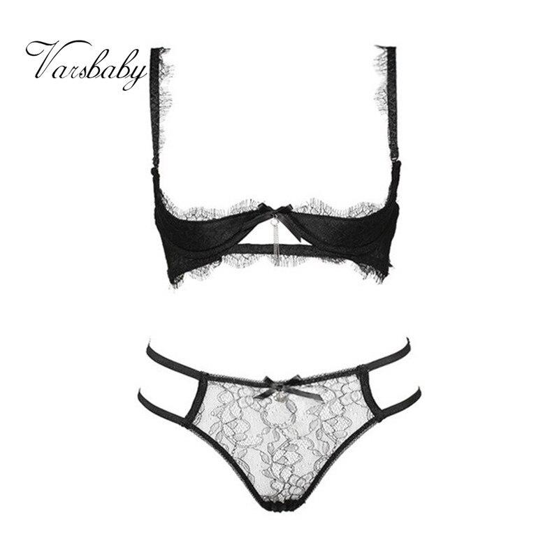 Varsbaby sexy lace open cup bra sets ladies sexy lash lace underwear set