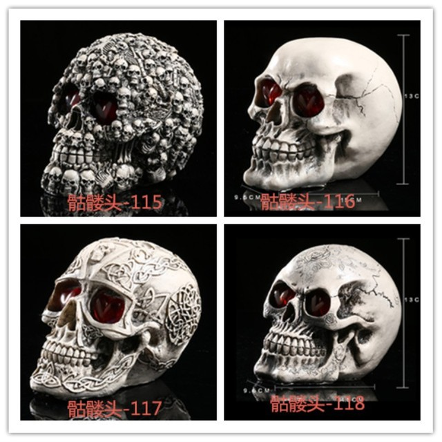 The Bar Atmosphere Site Layout Props Resin Skull Horror Creative Led Skull Funny Props Home Decoration Accessories