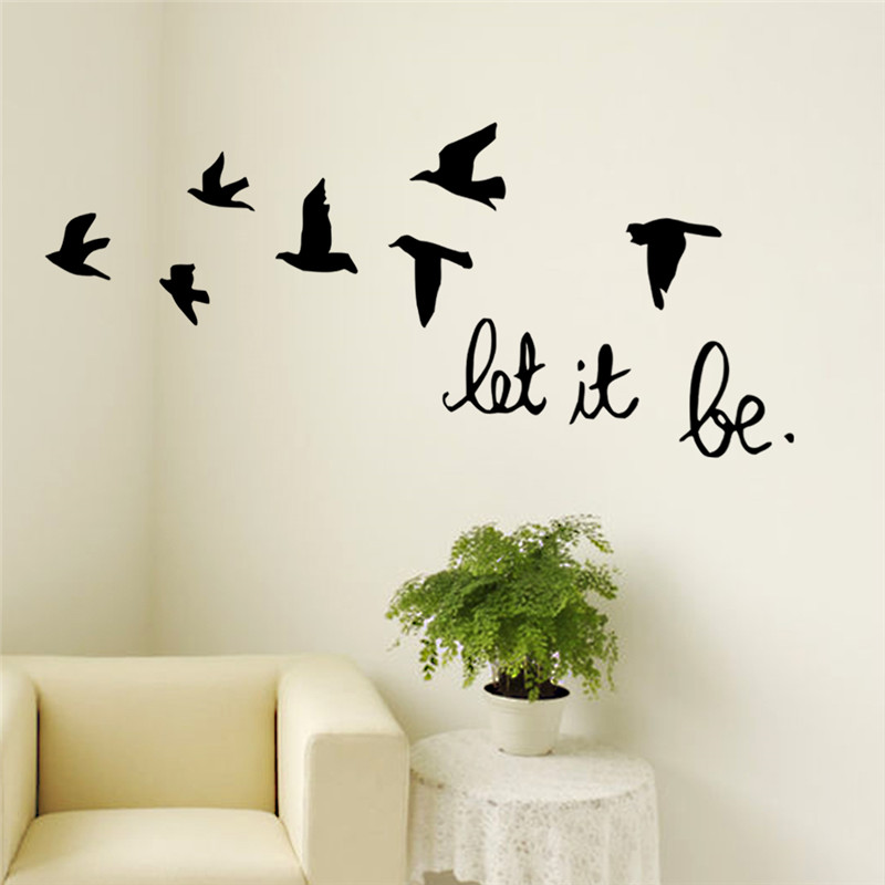 Nueva llegada negro pájaros de vuelo etiqueta de la pared para cuartos de los ni