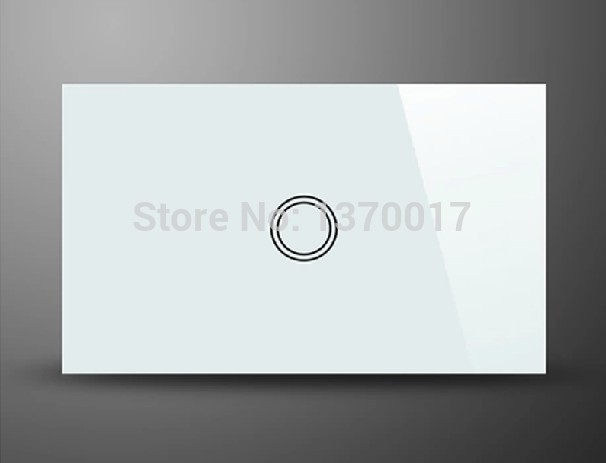 White Crystal Glass AU US Standard 1 Gang 2 Way Touch Switch, AC 110-240V Light Wall Switches with LED Indicator,Free Shipping