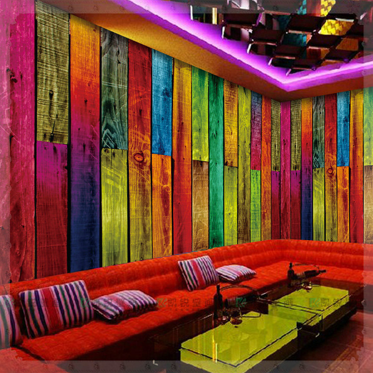 Large Photo Mural 3D Wallpaper Vintage KTV Wood Stripe Wall Paper Colorful Plank Europe Style Grande Fresque Murale Paysage Luz In Wallpapers From Home