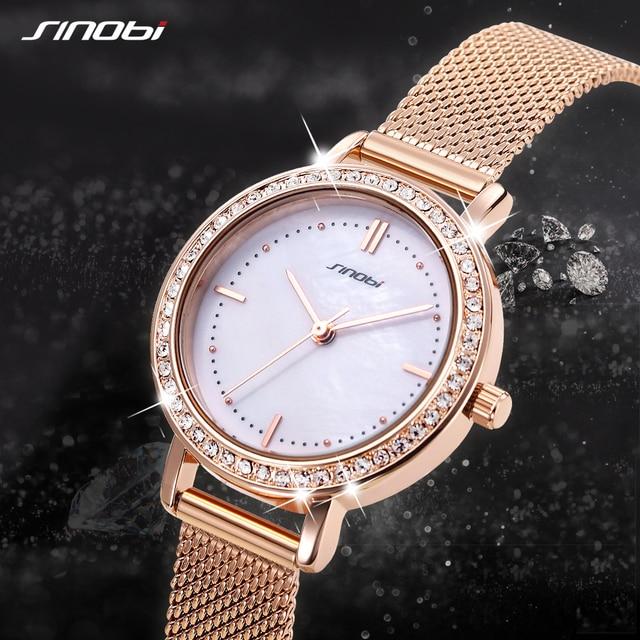 SINOBI reloj de marca de lujo para mujer, elegante, de cuarzo, resistente al agua, de pulsera, informal, femenino