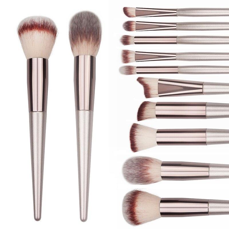 Wooden Champagne Makeup Brushes Set for Foundation Powder Blush Eyeshadow Concealer Lip Eye Make Up Brush Luxury Cosmetics Tools