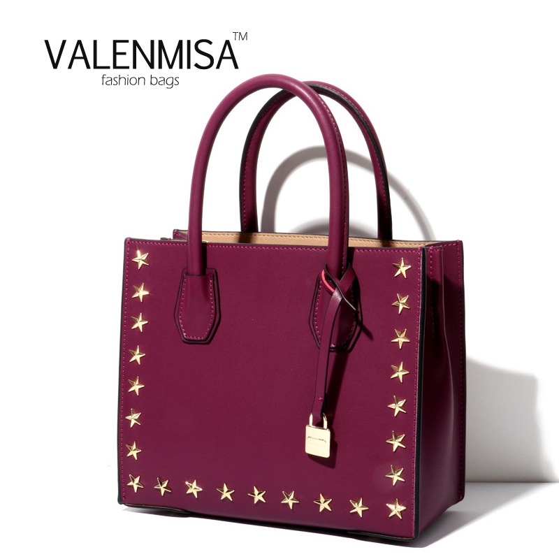 VALENMISA Famous Brand Genuine Leather Bag Luxury Handbags Women Bags Designer Tote Bag Star Rivet Lady Crossbody Bags For Women цена и фото