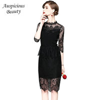 Women Lace Dress 2018 Summer Prom Gowns Stand Hollow Out Sexy Bodycon Elegant Ladies Evening Mini Party Dresses Female SXM167