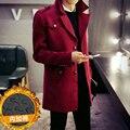 2016 Outono inverno estilo Inglaterra cor sólida Epaulette projeto de lã casacos para homens vinho tinto casual magro casacos de lã dos homens, M-XXL