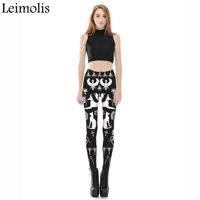 Leimolis 3D imprimé fitness push up entraînement leggings femmes gothique egypte Bastet chat grande taille taille haute punk rock pantalon