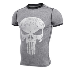 Men's sports fitness gym suit leotard sweat running training skull pattern fast dry T-Shirt NEW in 2017