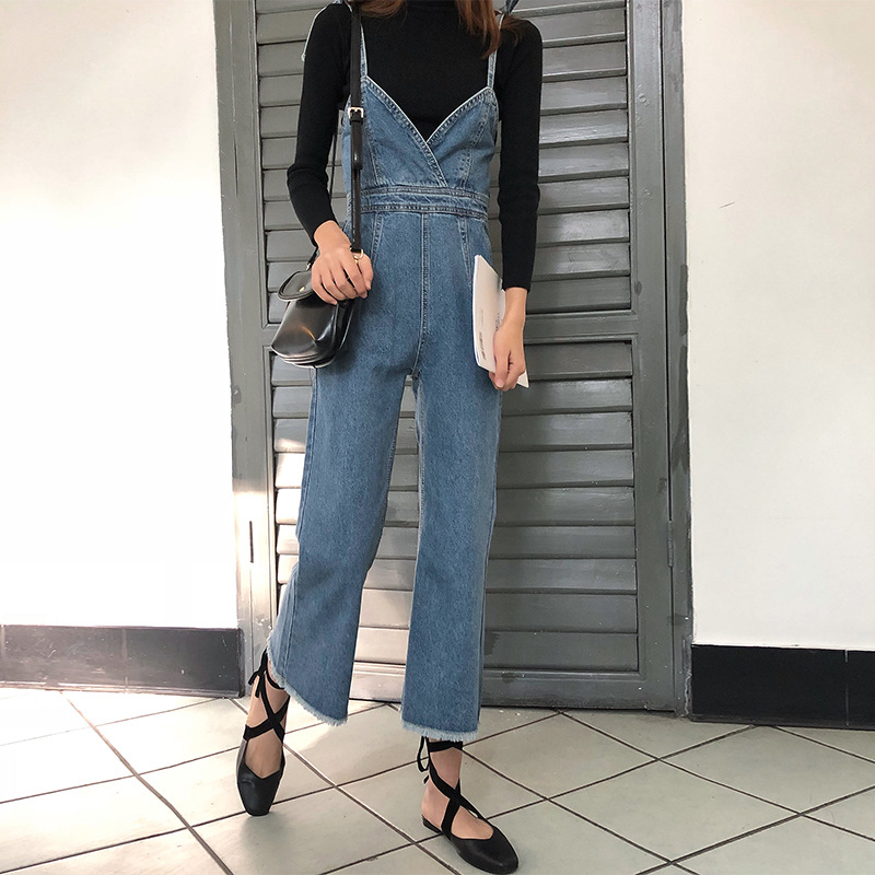 SWYIVY Denim Jumpsuits Ankle Length Pants Woman Autumn 2018 Wide Leg Overalls Trousers Tanks Camis Lady Jeans Rompers Jumpsuits