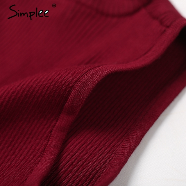 Simplee Elegant halter v neck knitted jumper Sexy sleeveless wine red party tank top 2016 Autumn vintage gray crop top