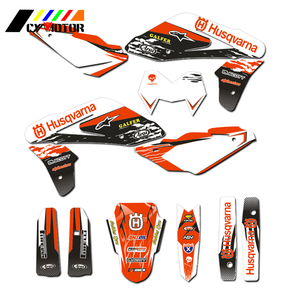 Motorcycle Customized Number Graphics Decals Stickers For Husqvarna TC250 TC450 TC510 2005 2006 2007 2008 Motobike