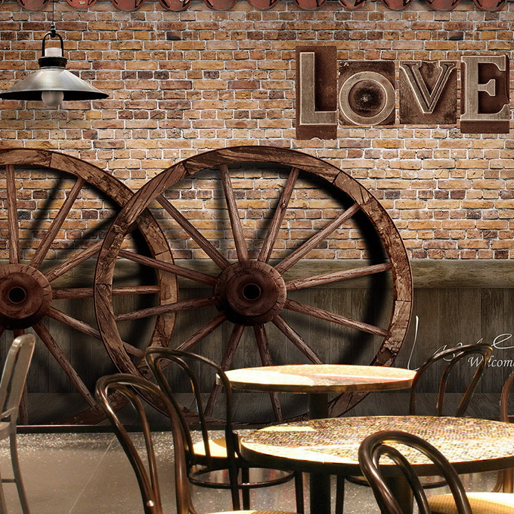 Custom Size Photo Vintage wood plank wheel large mural Bar Cafe 3D personality theme wall painting wallpaper