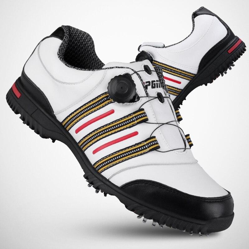 Бренд PGM натуральная кожа и микрофибра Мужские Tour 360 Boa Boost водостойкие шипами гольф спортивная обувь Pro Tour устойчивый и водостойкий