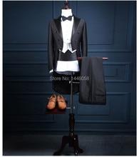 2017 Classic Shiny Black Tail Coat Groom Tuxedos Groomsman Suit Custom Made Wedding Dinner Suits Tailcoat Jacket+Pants+Vest+Bow
