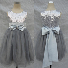 2017 Sequined Flower Girl Dresses Silver Gray Gold Pageant Paty Gowns Tulle Bow Sash Ball Gown Sparkly Formal Dress