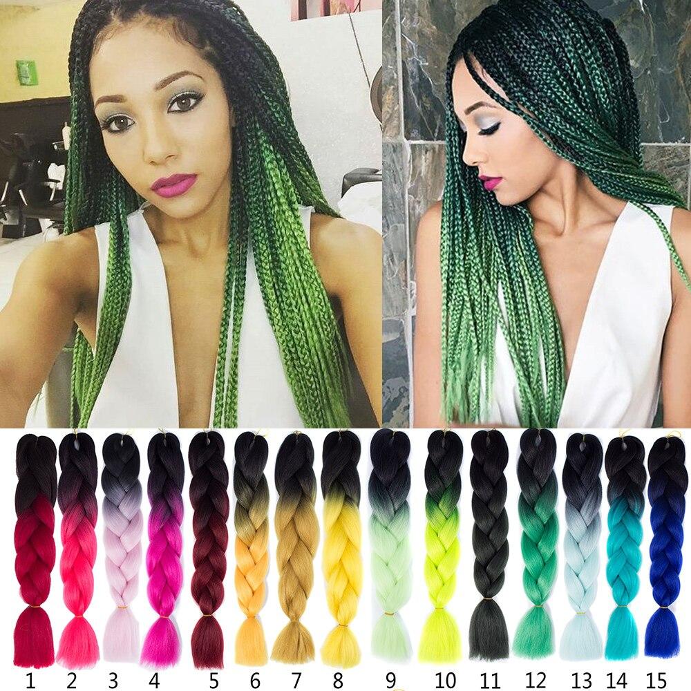 Green Braiding Hair 100g Pcqp Change Braid Extensions Two