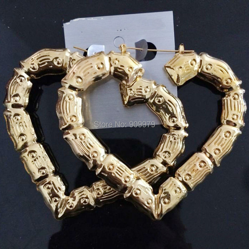 Heart Bamboo Hoop Earrings Shiny Elegent Lover Lady Gifts Fashion ...