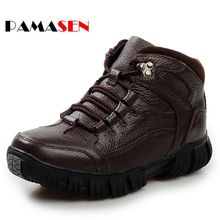 PAMASEN Genuine Leather Men Shoes Autumn Winter Men Boots Fashion Vintage Style Male Motorcycle Shoes High-Cut Men Casual Shoes