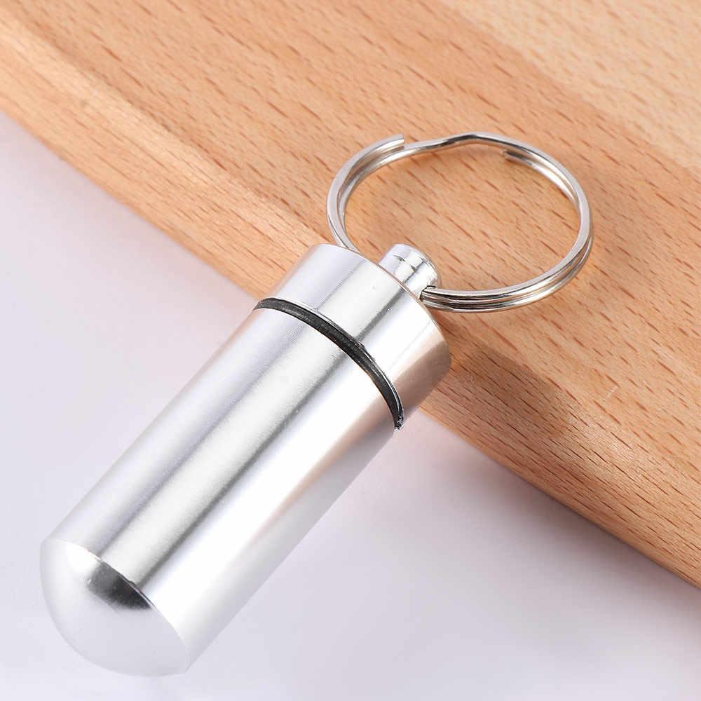 Mode Waterdichte Aluminium Pil Geld ID Box Veilige Drug Holder Case Sleutelhanger Sleutelhanger