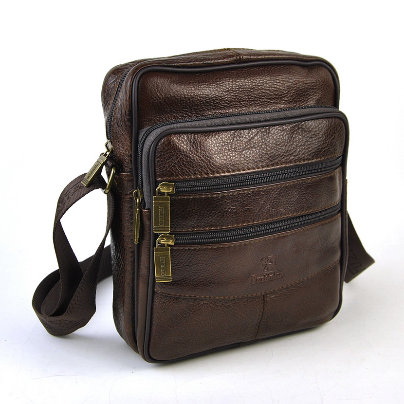 Фото Men Genuine Real Leather Shoulder Bag Vintage Classic Messenger Retro Satchel Cross Body Bags Practical Multi Zip Casual Brand