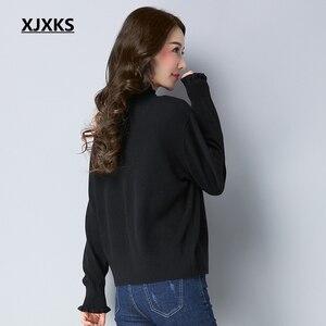 Image 2 - XJXKS Herbst Und Winter Frauen Pullover Mantel Gestrickte Frauen Strickjacken Solide Jacke Zipper Langarm Elegante Pullover Mäntel