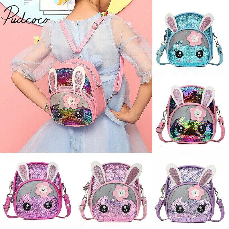 2019 Baby Summer Accessories Cute Kids Toddler Girls Sequin Rabbit Schoolbag Backpack Bling Bling Cartoon Bunny Shoulder Bag