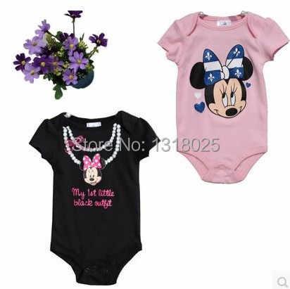 Розовый и черный женский ребенка с мешок пердеть боди мультфильм новорожденных девочек с короткими рукавами одежды восхождение ребенок треугольник одежда подняться