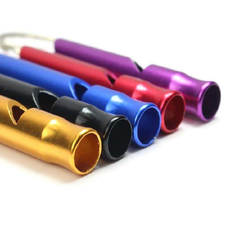 מערבבים צבע אלומיניום חירום הישרדות Whistle Keychain לקמפינג טיולים