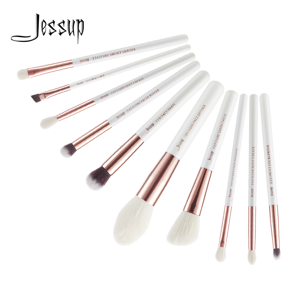 Jessup Brushes 10pcs Pearl White/Rose Gold Professional Makeup Brushes Foundation Powder Definer Shader Make up Brush Set T223 jessup brushes black rose gold professional makeup brushes set make up brush tools kit foundation powder buffer cheek shader