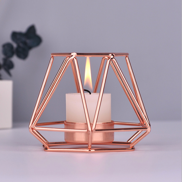 Nordic Style Wrought Iron Geometric Candle Holders Home Decorate Metal Crafts candlestick candelabros de velas Holder mesa 4