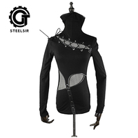Gothic High Collar Mask Woman T shirts Stretch Knit Stitching Elastic Mesh Fabric Black Tops Punk Rock Tees