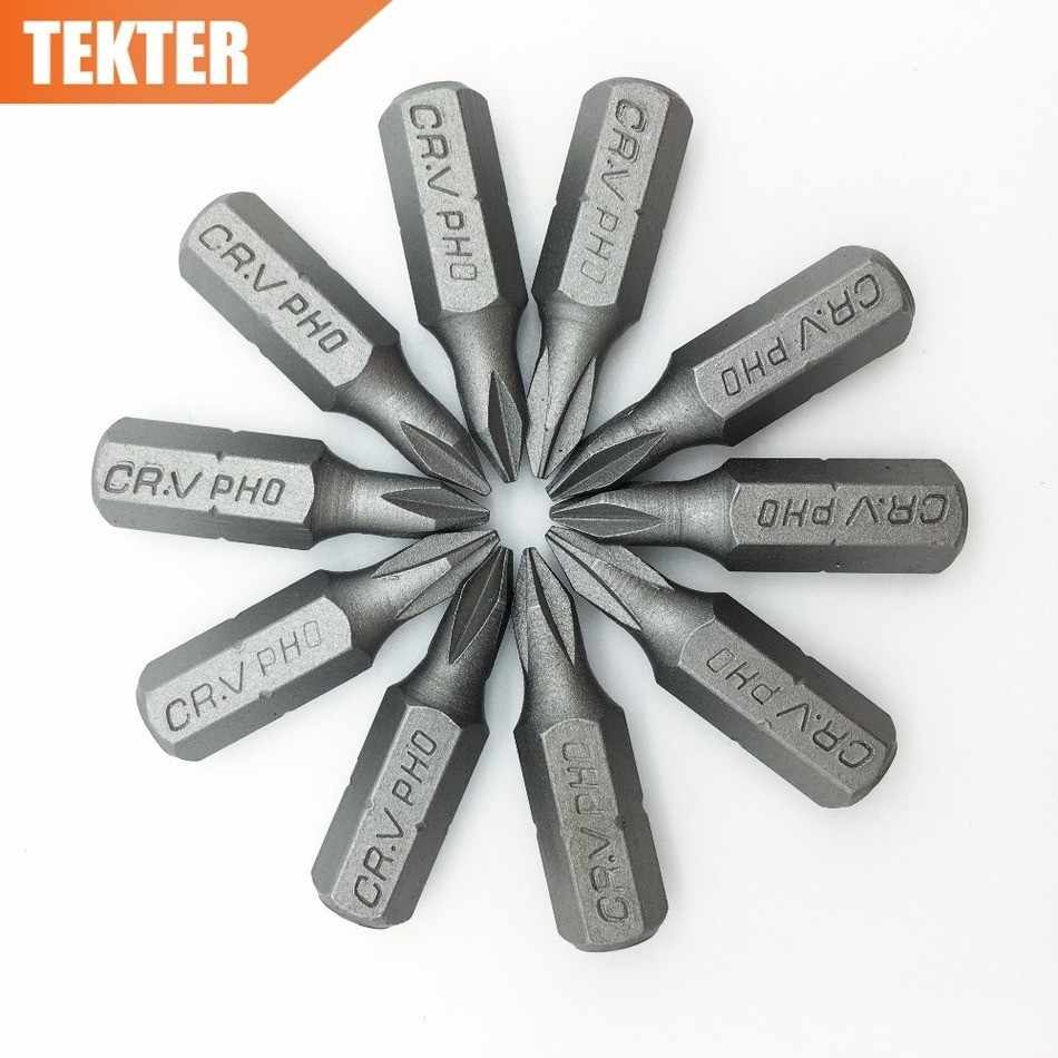 TEKTER 10 piezas cromo vanadio CR-V acero #0 brocas para destornillador Philips 25mm vástago hexagonal Torque PH0 juego de destornilladores