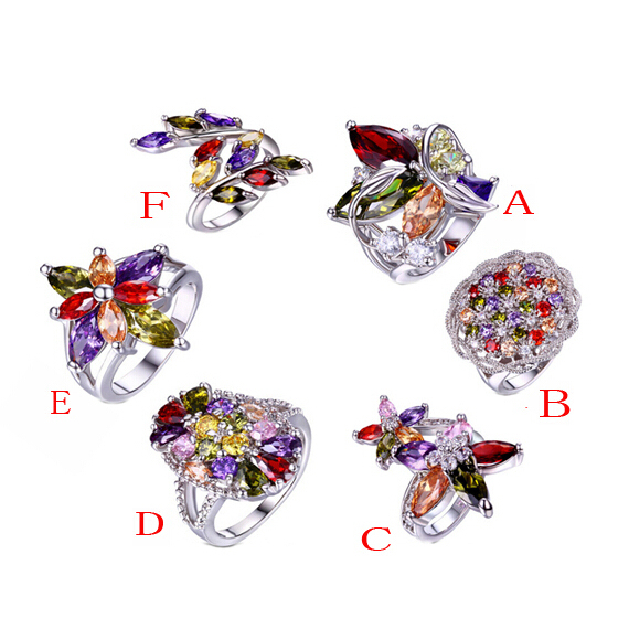 6pcs/lot Luxury Multicolor Cubic Zirconia Wedding Ring White Gold AAA Zircon Women Rings Wholesale