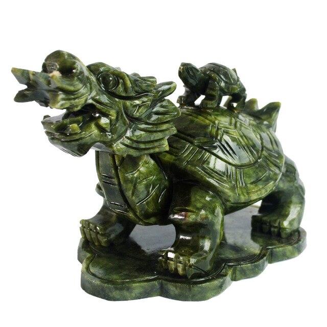 Feng Shui Green Jade Dragon Turtle For Wealth J2112