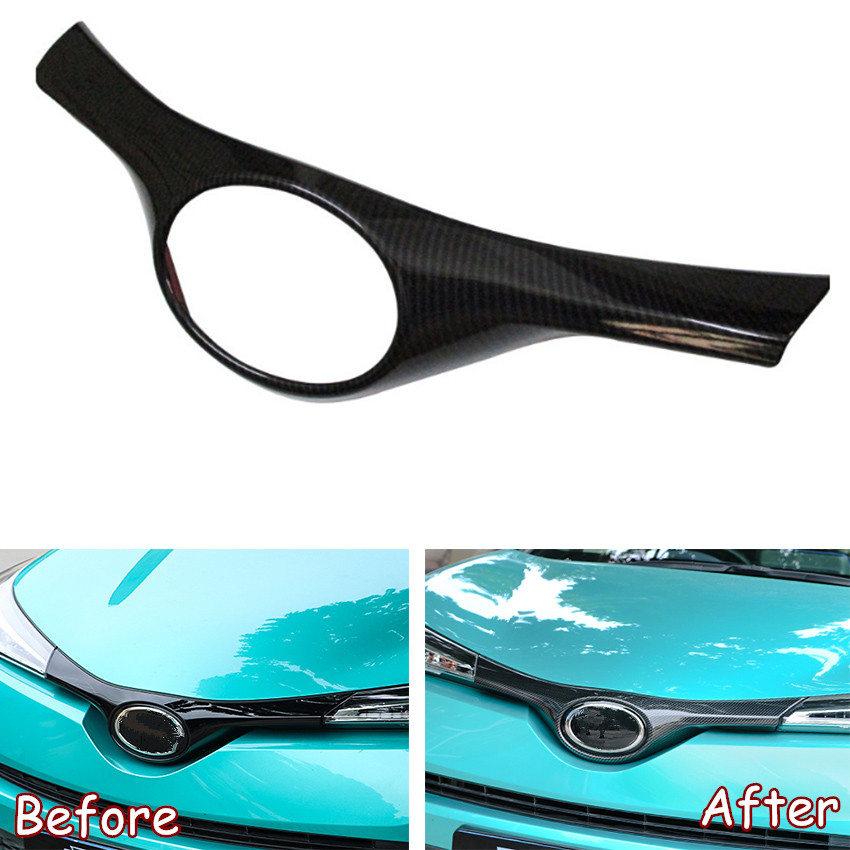 JXKaFa Fit For Toyota CHR C-HR 2016-2018 Car Exterior Parts Front Bumper Grill Upper Logo Decoration Frame Trim Styling ABS