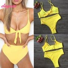 2018 Hohe Taille Bikinis Set 2018 Frauen Brasilianische High Cut Bademode Solide Adjust Straps Triangle Badeanzug Badeanzug Beachwear