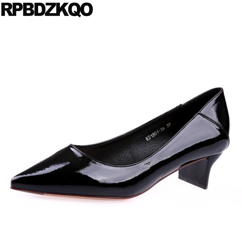 Ladies Mid Heels Shoes Black Office Medium Block Pointed Toe Size 4 34 China Elegant Work Patent Leather Chic Formal Modern pointed toe slip on high heels strappy 2017 chic size 4 34 black ladies kitten sandals medium fashion low summer shoes slingback page 7