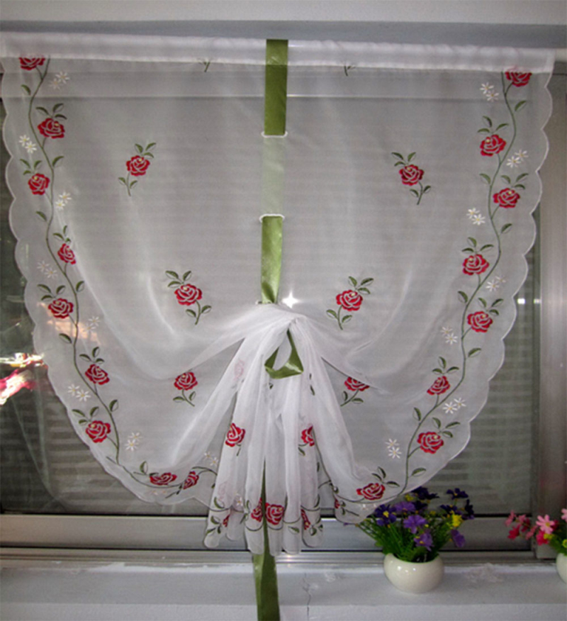 2016 New Elegant Embroidery Rose Voil Ballon Curtain Finished Floral Window Kitchen Draw String