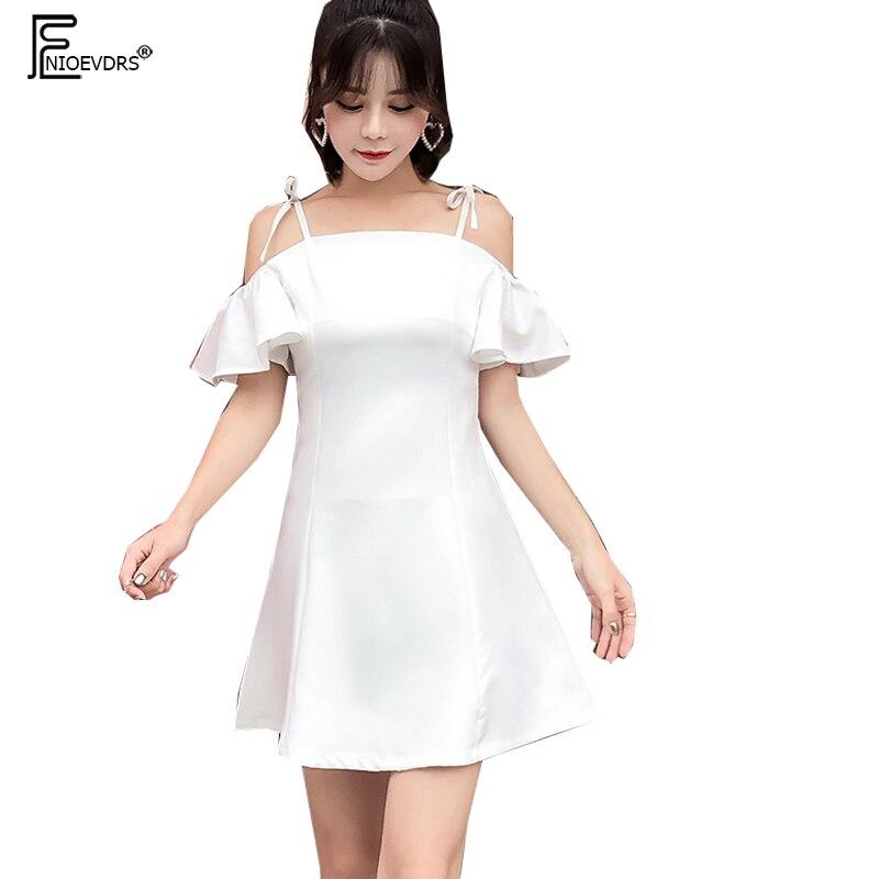 Для женщин трепал линии платья милый галстук-бабочка Белая Туника Стиль корейские милые открытым Короткие рюшами рукава с открытыми плечам...