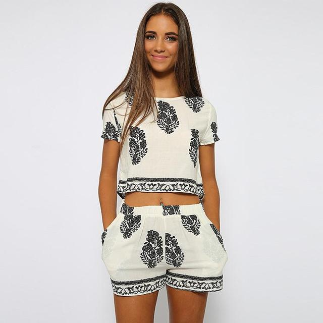 Vintage Style Women summer 2 Pieces Sets Flowers Printed Casual Print O-Neck Short Sleeve Crop Tops + Elastic Waist Shorts