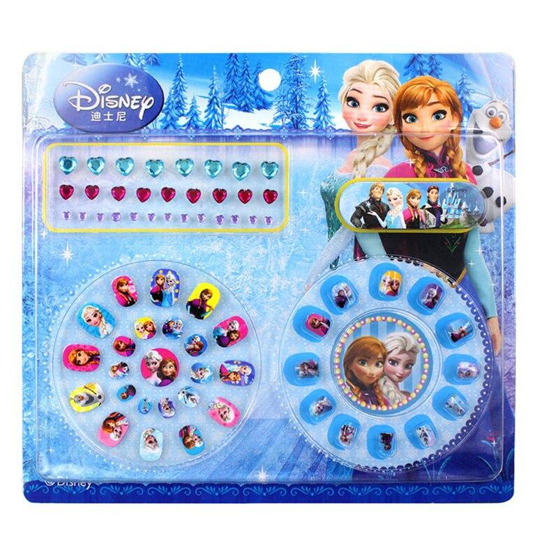 DISNEY frozen elsa y Anna niño uñas pegatinas Blancanieves Sofia clásicos juguetes 3D diamante pegatina