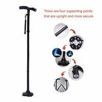 Walking Stick LED Light Canes Trekking Trail Hiking Poles Old Man Ultralight Folding Protector Adjustable T