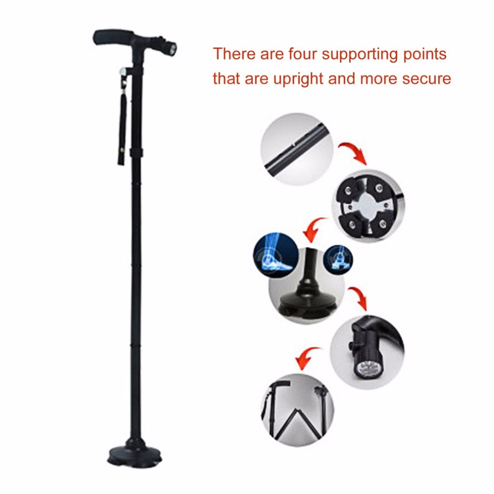 Walking Stick LED Light Canes Trekking Trail Hiking Poles Old Man Ultralight Folding Protector Adjustable T Handlebar Elders