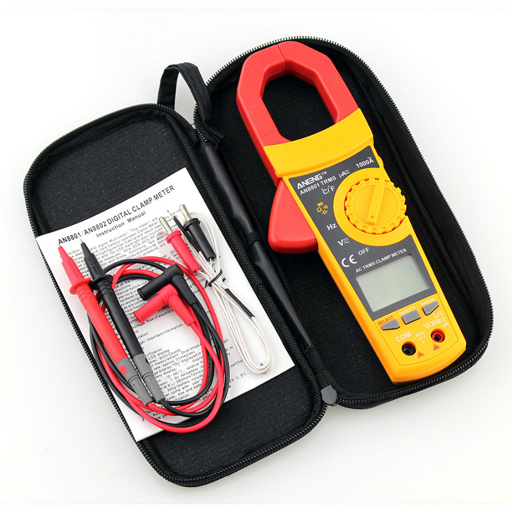 AN8801 Yellow Autoranging Digtal Clamp Meter True RMS Measurement Backlight TMPG
