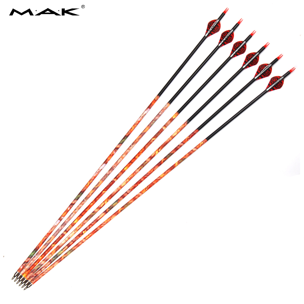 12/24 pcs Carbon Arrow Spine 500 Length 30 Inches Outside Diameter 7.8mm Replaceable Arrowhead for Recurve Bow Hunting Shooting wholesale archery equipment hunting carbon arrow 31 400 spine for takedown bow targeting 50pcs