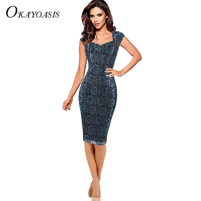 6b7b5a5a42bffc Elegant Dresses Floral Plus Size Women Vintage Office Dress Work Blue Slim Sexy  Beautiful Embroidery Lace High Quality 3 Colors