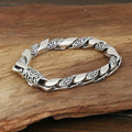 S925 men's fashion wholesale silver jewelry handmade Vintage Silver wreath carved smooth personality between Bracelet