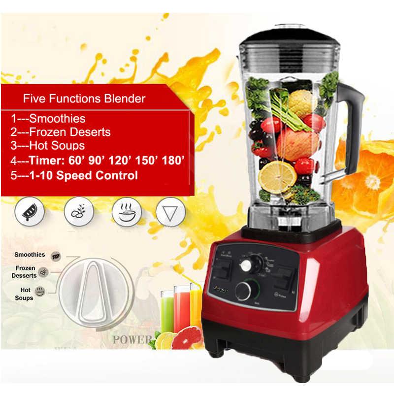 Batidora mezcladora de temporizador de calidad comercial libre BPA exprimidor de frutas automático de alta resistencia procesador de alimentos batidos de trituradora de hielo 2200W