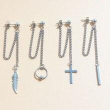 Stud Earring Jewelry-Accessories Double-Chain Korean Pendant Punk Cross-Leaf Women Metal